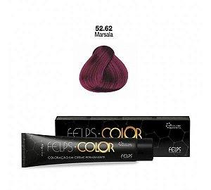 Coloração em Creme Marsala 55.62 Vermelho Especial Felps Color Professional 60g