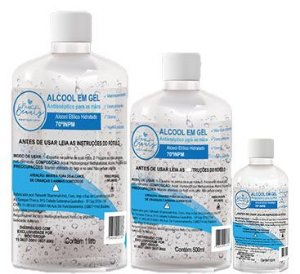 Álcool Gel 70% Higienizador Kit 3 uni 1000ml 500ml 60ml