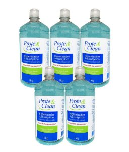 Álcool em Gel Higienizador Antisséptico Prote & Clean 1Kg - 5 Unidades