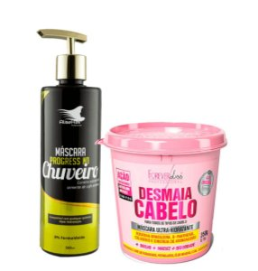 Progressiva no Chuveiro Alise Hair 500ml + Desmaia Cabelo Forever Liss 350g