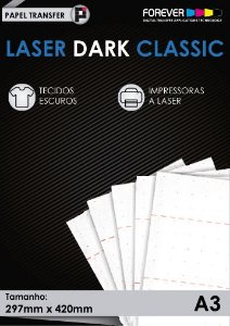 Papel Transfer 50 folhas Forever Laser Dark Classic A3