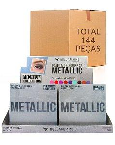 Paleta de Sombras Metallic – Bella Femme BF10068 – Caixa Fechada com 12 Displays