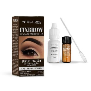 FixBrow Henna de Sobrancelha Castanho Escuro – Bella Femme BF10098C – Caixa Fechada com 72 Unidades