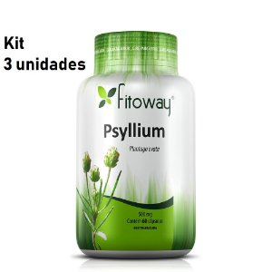 Kit 3x Psyllium 500mg - 180 Cápsulas (Fitoway)