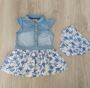 Vestido Infantil Manga Curta Jeans Flores Com Calcinha - Puc f929f189573