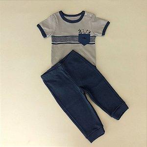 Conjunto Infantil Masculino Body Manga Curta Com Calça Cachorrinhos - Bibe 851164d7c86