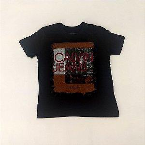 21e9acd0fc298 Camisa Infantil Masculina - Calvin Klein - Manga Curta Básica ...