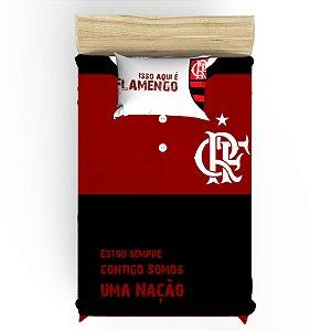 Lençol de Elástico do Flamengo para Cama de Solteiro com 1 Fronha