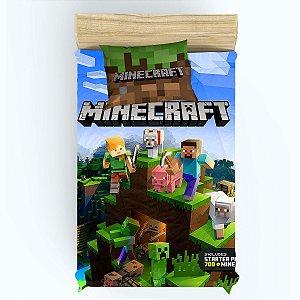 Kit Colcha e Lençol de Elástico Minecraft e Cortina 1,40m de largura x 1,80m de altura sem Forro Blecaute