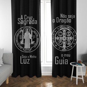 Cortina Blecaute Oração de São Bento - Personalizada com Nome - 1,40m Largura x 1,80m Comprimento