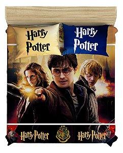 Colcha do Harry Potter para Cama De Casal + 2 Fronhas