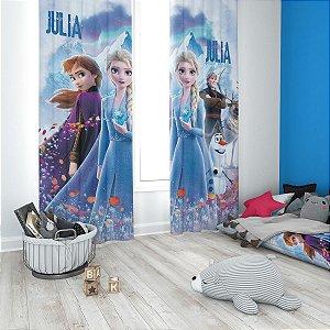 Cortina Blecaute Frozen 2 - Personalizada com Nome - 2,70m L x 2,50m C