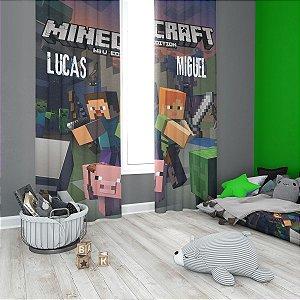 Kit Minecraft Cortina Blecaute + Colcha de Solteiro + 1 Fronha
