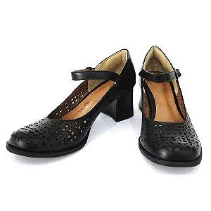 Scarpin Boneca Couro Dali Shoes Salto Grosso Médio