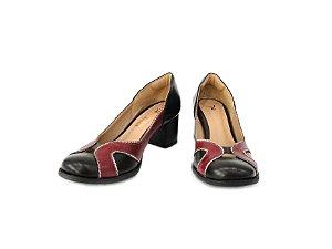 DUPLICADO - Sapato Boneca Couro Marrom/Vermelho - Dalí Shoes
