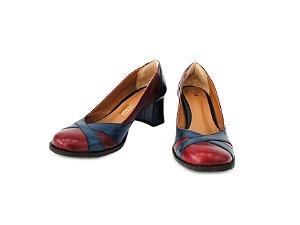 DUPLICADO - Sapato Boneca Couro Azul/Vermelho - Dalí Shoes