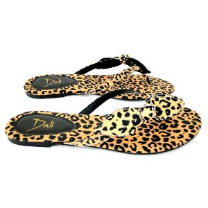 Rasteira Dali Shoes Cetim Laço Animal Print