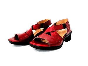 Sandália de Couro Vermelho de Salto Grosso - Dali Shoes