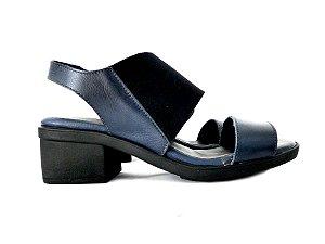Sandália Couro Salto Grosso Azul - Dali Shoes