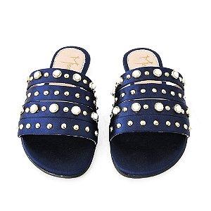 Rasteira Infantil Dali Shoes Cetim Tiras Perolas