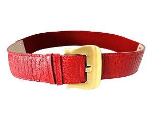Cinto Couro Eco Fivela de Metal e Elástico Vermelho - Dali Shoes