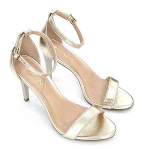 Sandalia Salto Fino Dourada - Via Uno
