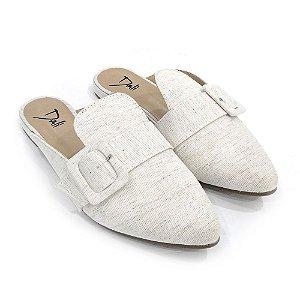 Sapatilha Mule Dali Shoes Linho Com Fivela