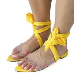 Rasteira Dali Shoes Vinil Linho Lace-Up Amarração