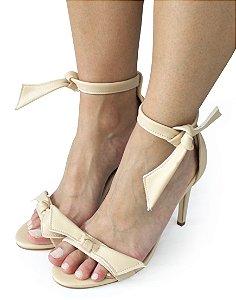 Sandalia Dali Shoes Salto Alto Fino Amarração Nude