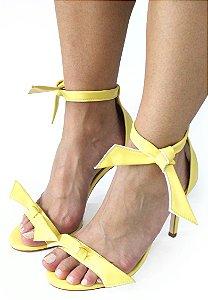 Sandalia Dali Shoes Salto Alto Fino Amarração Amarela