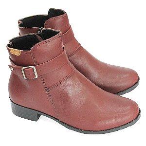 Bota Couro Dali Shoes Cano Curto Salto Baixo