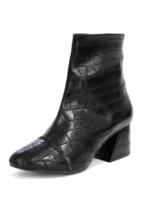 Bota Dalí Shoes Croco Cano Curto e Salto Grosso Ziper Metal