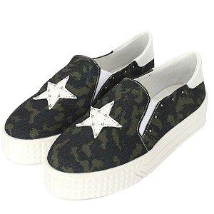 Tênis Slip On Dalí Shoes FlatForm Camuflado e Estrela