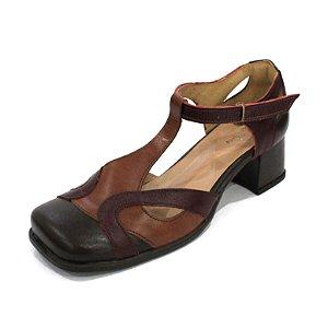 Sapato Boneca Couro Dali Shoes Bico Quadrado com Recortes e Salto Grosso
