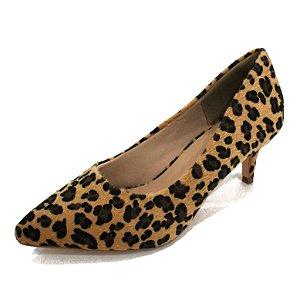 Scarpin Dalí Shoes Bico Fino Salto Fino Baixo Animal Print