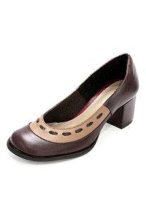 Sapato Boneca Couro Dali Shoes Salto Grosso e Recorte