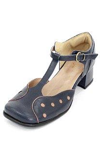 Sapato Boneca Couro Dali Shoes Bico Quadrado Bolinhas