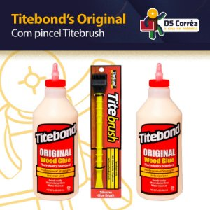 Titebond I Original Wood Glue - COLA PARA MADEIRA KIT C/ 2 TUBOS DE 946ML + PINCEL TITEBRUSH