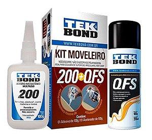 Kit Moveleiro - Adesivo Instantâneo e Acelerador de Secagem QFS - TEKBOND