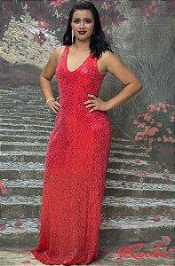 Vestido longo vermelho de paete inteiro , tule costas vermelho
