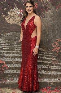 Vestido longo vermelho de paete inteiro , transparência lateral e costas estilo sereia