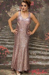 Vestido longo rose de paete inteiro, com transparência lateral e costas