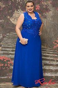 Vestido longo azul royal busto renda com bordado , saia musselini