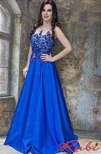 Vestido longo azul royal busto bordado na renda  com transparência , saia tafeta