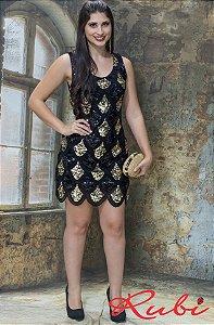 Vestido curto preto de paete ,com detalhe dourado