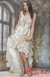 Vestido longo nude tomara que caia , busto bordado saia babado frente mais curta