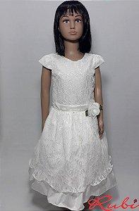 Vestido curto branco infantil de renda , com detalhe de flor na cintura  tam:16