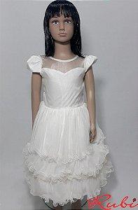 Vestido infantil social branco , busto com transparência saia babado de tule tam 8
