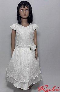Vestido infantil branco de renda inteiro ,com detalhe de flor na cintura tam 12