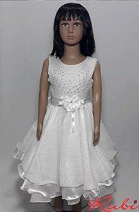 Vestido infantil branco com detalhe em strass no busto , e detalhe flor na cintura tam :8